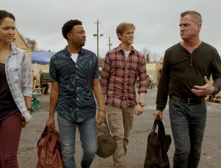 """Wind + Water"" -- While MacGyver is in Puerto Rico helping his friend rebuild his hurricane-damaged home, he is taken hostage in the bank his friend manages when robbers attempt to steal $2 million, on MACGYVER, Friday, April 20 (8:00-9:00 PM, ET/PT) on the CBS Television Network. Pictured: Tristin Mays, Justin Hires, Lucas Till, George Eads. Photo: CBS ©2018 CBS Broadcasting, Inc. All Rights Reserved"
