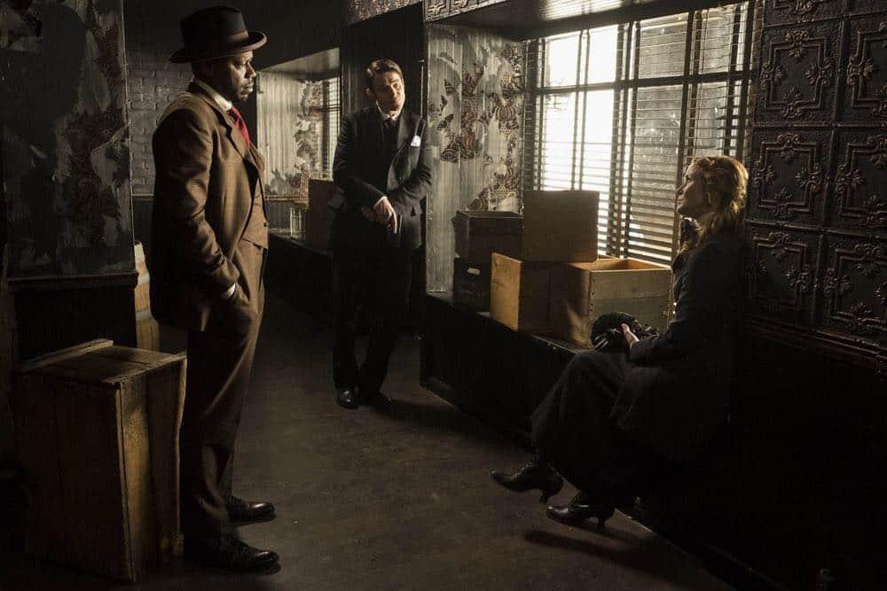 "TIMELESS -- ""Mrs. Sherlock Holmes"" Episode 207 -- Pictured: (l-r) Malcolm Barrett as Rufus Carlin, Goran Visnjic as Garcia Flynn, Annie Wersching as Emma Whitmore -- (Photo by: Justin Lubin/NBC)"