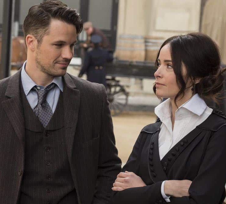 "TIMELESS -- ""Mrs. Sherlock Holmes"" Episode 207 -- Pictured: (l-r) Matt Lanter as Wyatt Logan, Abigail Spencer as Lucy Preston -- (Photo by: Justin Lubin/NBC)"
