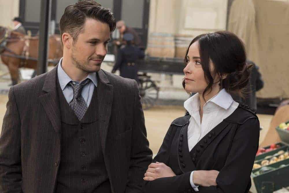 "TIMELESS -- ""Mrs. Sherlock Holmes"" Episode 207 -- Pictured: (l-r) Matt Lanter as Wyatt Logan, Abigail Spencer as Lucy Preston -- (Photo by: Justin Lubin/NBC)"