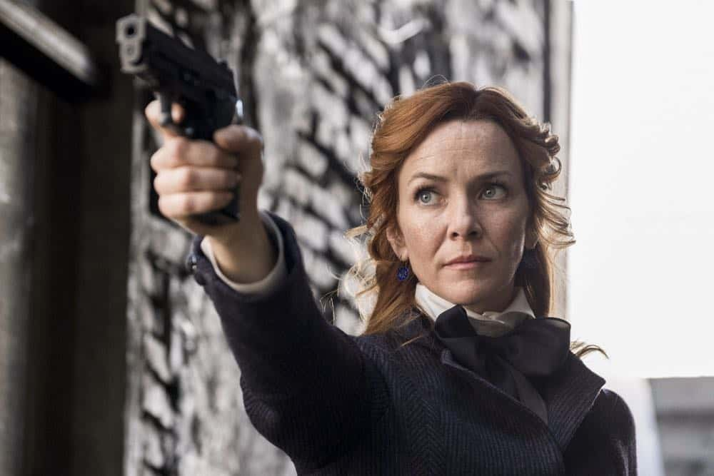 """TIMELESS -- """"Mrs. Sherlock Holmes"""" Episode 207 -- Pictured: Annie Wersching as Emma Whitmore -- (Photo by: Justin Lubin/NBC)"""