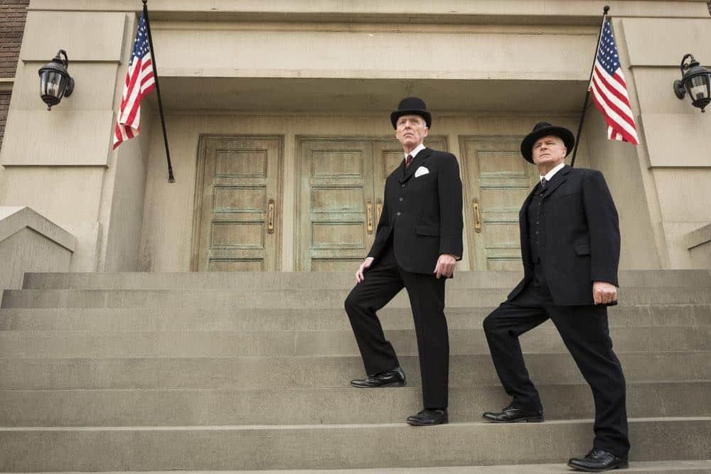 "TIMELESS -- ""Mrs. Sherlock Holmes"" Episode 207 -- Pictured: (l-r) Bryan Scott Johnson as President Woodrow Wilson, Tom Virtue as Senator James Wadsworth -- (Photo by: Justin Lubin/NBC)"