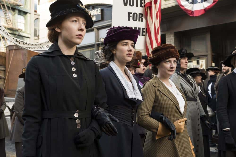 """TIMELESS -- """"Mrs. Sherlock Holmes"""" Episode 207 -- Pictured: (l-r) Glennellen Anderson as Jane, Erica Dasher as Alice Paul, Lauren Baldwin as Mary -- (Photo by: Justin Lubin/NBC)"""