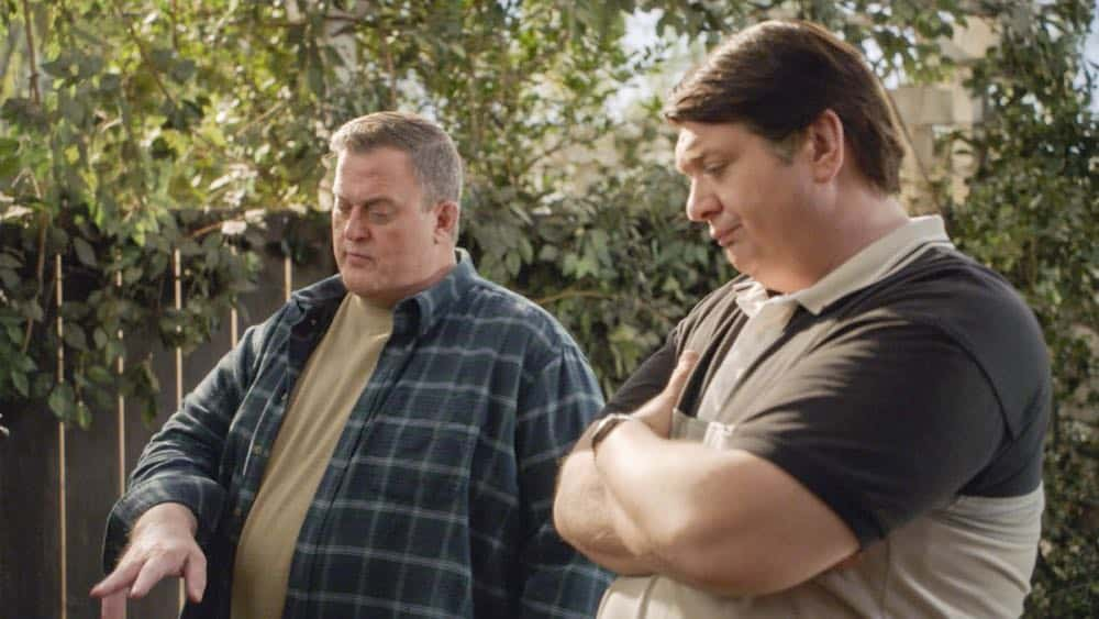 """A Dog, a Squirrel, and a Fish Named Fish"" - Pictured: Herschel Sparks (Billy Gardell) and George, Sr. (Lance Barber). A battle erupts between the Coopers and Sparks when the Sparks' new dog terrorizes Sheldon, on YOUNG SHELDON, Thursday, April 26 (8:31-9:01 PM, ET/PT) on the CBS Television Network. Photo: Screen Grab/Warner Bros. Entertainment Inc. © 2018 WBEI. All rights reserved."