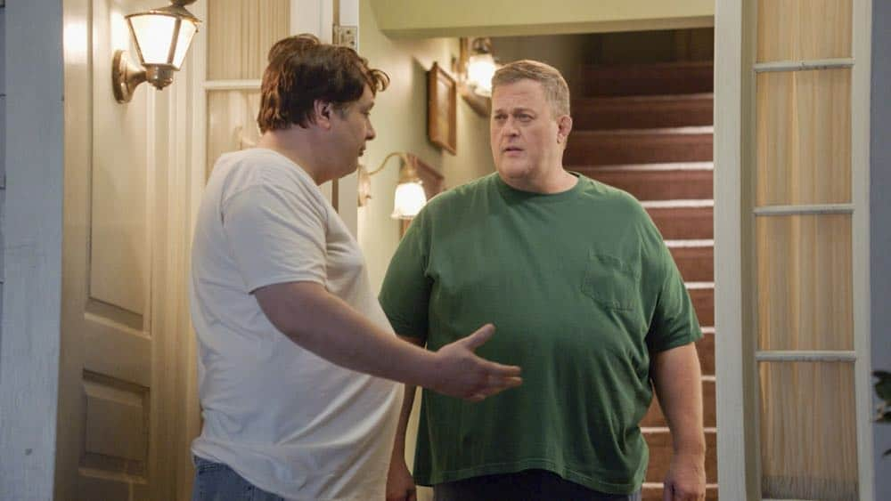 """A Dog, a Squirrel, and a Fish Named Fish"" - Pictured: George, Sr. (Lance Barber) and Herschel Sparks (Billy Gardell). A battle erupts between the Coopers and Sparks when the Sparks' new dog terrorizes Sheldon, on YOUNG SHELDON, Thursday, April 26 (8:31-9:01 PM, ET/PT) on the CBS Television Network. Photo: Screen Grab/Warner Bros. Entertainment Inc. © 2018 WBEI. All rights reserved."