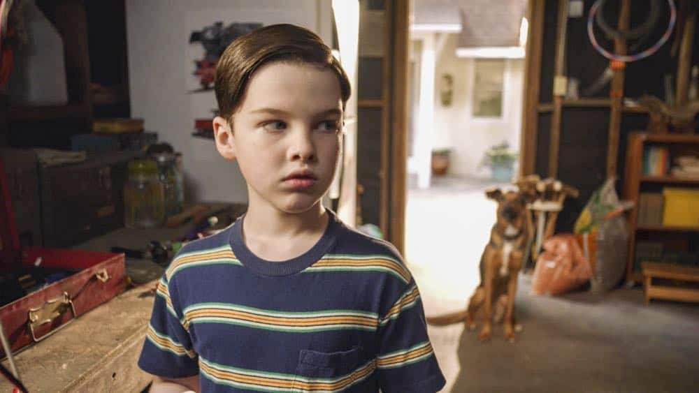 """A Dog, a Squirrel, and a Fish Named Fish"" - Pictured: Sheldon (Iain Armitage). A battle erupts between the Coopers and Sparks when the Sparks' new dog terrorizes Sheldon, on YOUNG SHELDON, Thursday, April 26 (8:31-9:01 PM, ET/PT) on the CBS Television Network. Photo: Screen Grab/Warner Bros. Entertainment Inc. © 2018 WBEI. All rights reserved."