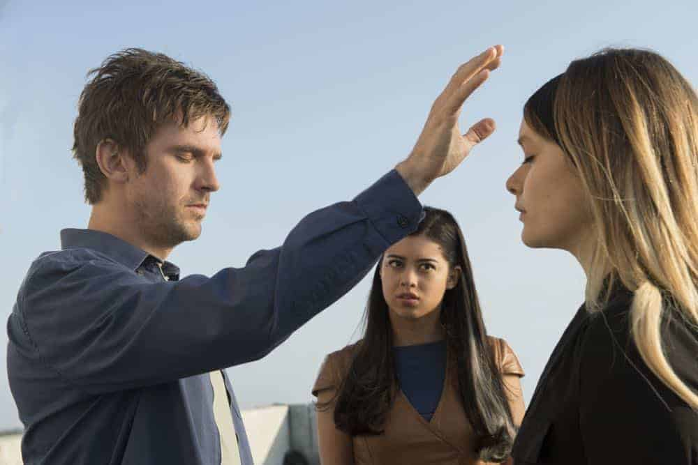 "LEGION -- ""Chapter 12"" - Season 2, Episode 4 (Airs Tuesday, April 24, 10:00 pm/ep) -- Pictured (l-r): Dan Stevens as David Haller, Amber Midthunder as Kerry Loudermilk, Rachel Keller as Syd Barrett. CR: Suzanne Tenner/FX"