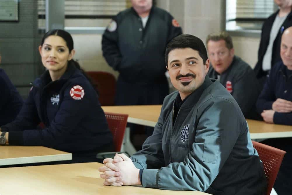 "CHICAGO FIRE -- ""The Strongest Among Us"" Episode 620 -- Pictured: (l-r) Miranda Rae Mayo as Stella Kidd, Yuri Sardarov as Otis -- (Photo by: Elizabeth Morris/NBC)"
