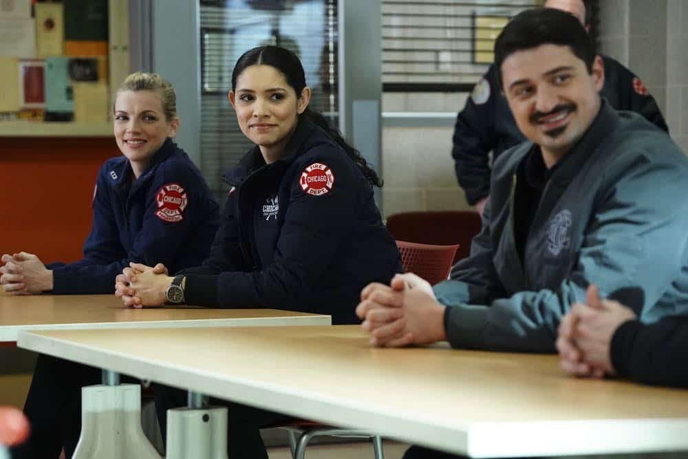 "CHICAGO FIRE -- ""The Strongest Among Us"" Episode 620 -- Pictured: (l-r) Kara Killmer as Sylvie Brett, Miranda Rae Mayo as Stella Kidd, Yuri Sardarov as Otis -- (Photo by: Elizabeth Morris/NBC)"
