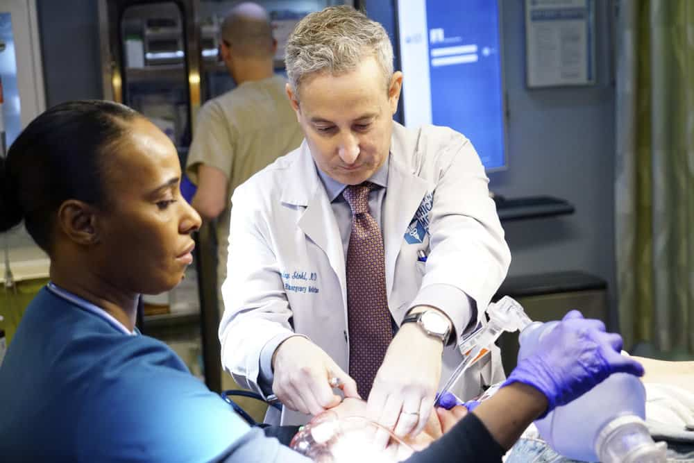 """CHICAGO MED -- """"The Parent Trap"""" Episode 317 -- Pictured: Eddie Jemison as Dr. Stohl -- (Photo by: Elizabeth Sisson/NBC)"""