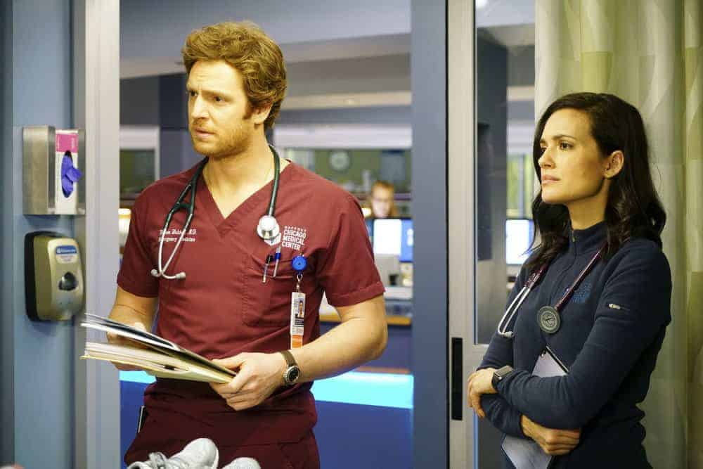 """CHICAGO MED -- """"The Parent Trap"""" Episode 317 -- Pictured: (l-r) Nick Gehlfuss as Will Halstead, Torrey DeVitto as Natalie Manning -- (Photo by: Elizabeth Sisson/NBC)"""