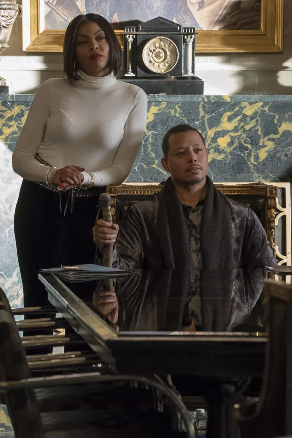 "EMPIRE: L-R: Taraji P. Henson and Terrence Howard in the ""False Face"" episode of EMPIRE airing Wednesday, April 25 (8:00-9:00 PM ET/PT) on FOX. CR: Fox Broadcasting Co. CR: Chuck Hodes"