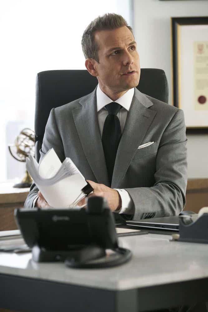 """SUITS -- """"Tiny Violin"""" Episode 715 -- Pictured: Gabriel Macht as Harvey Specter -- (Photo by: Ian Watson/USA Network)"""