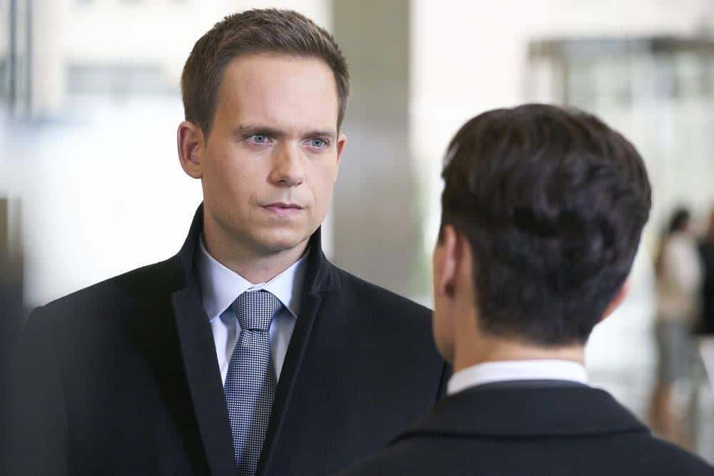 """SUITS -- """"Tiny Violin"""" Episode 715 -- Pictured: Patrick J. Adams as Mike Ross -- (Photo by: Ian Watson/USA Network)"""