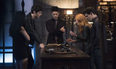 "SHADOWHUNTERS - ""Salt In The Wound"" - With the Owl's identity revealed, Alec, Isabelle, and Clary head to Alicante to try and find a way to stop him. Luke and Simon team up to track Lilith's latest possible victim. Maia reflects on her past. This episode of ""Shadowhunters"" airs Tuesday, May 1 (8:00 - 9:00 p.m. EDT) on Freeform. (Freeform/John Medland) MATTHEW DADDARIO, HARRY SHUM JR., KATHERINE MCNAMARA, ALBERTO ROSENDE"