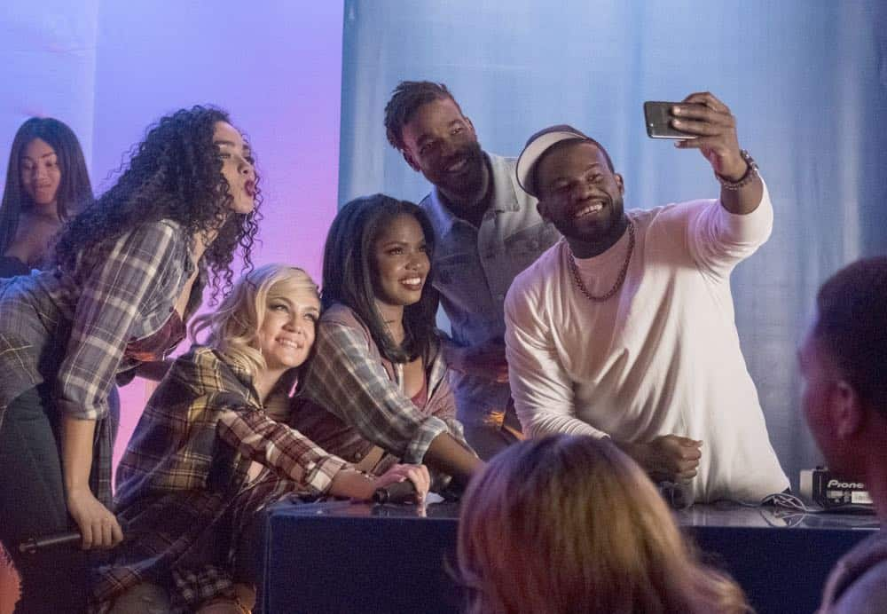 "STAR: L-R: Brittany O'Grady, Jude Demorest, Ryan Destiny, Luke James and  guest star Onye Eme-Akwari in the ""After the Set, It's the After Party"" episode of STAR airing Wednesday, April 25 (9:00-10:00 PM ET/PT) on FOX. ©2018 Fox Broadcasting Co. CR: Wilford Harewood/FOX"