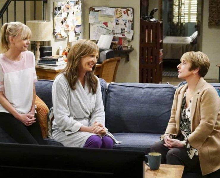 """""""A Taco Bowl and a Tubby Seamstress"""" -- Christy is concerned that she and Bonnie might lose their apartment when Bonnie locks horns with the tough new building owner, Rita (Patti Lupone), on MOM, Thursday, April 26 (9:01-9:30 PM, ET/PT) on the CBS Television Network. Pictured L to R: Anna Faris as Christy, Allison Janney as Bonnie, and Patti Lupone as Rita. Photo: Monty Brinton/CBS ©2018 CBS Broadcasting, Inc. All Rights Reserved"""