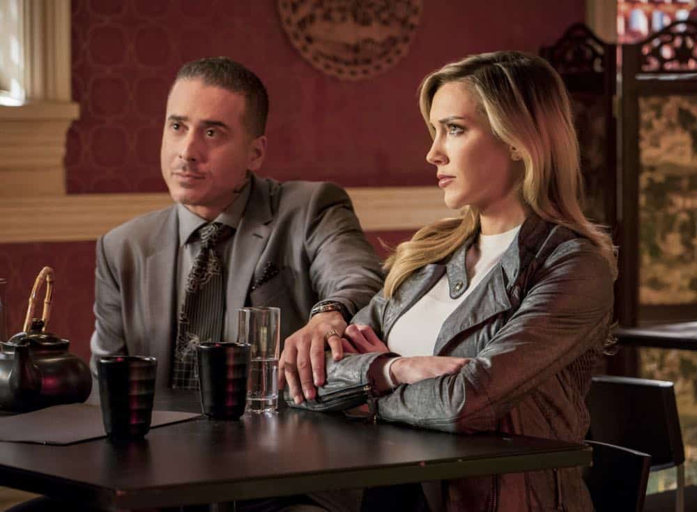 "Arrow -- ""Shifting Allegiances"" -- Image Number: AR620b_0096.jpg -- Pictured (L-R): Kirk Acevedo as Ricardo Diaz and Katie Cassidy as Laurel/Black Siren -- Photo: Daniel Power/The CW -- © 2018 The CW Network, LLC. All Rights Reserved."