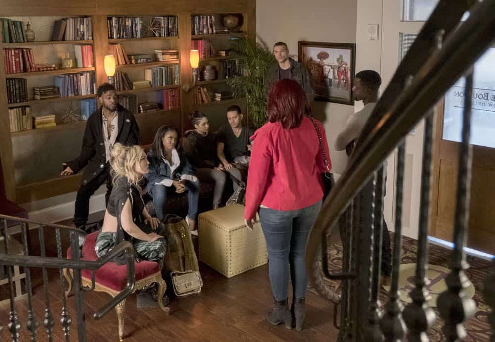 """STAR: L-R: Jude Demorest, Luke James, Ryan Destiny, Brittany O'Grady, guest stars Evan Ross, Matthew Noszka, Lance Gross and Queen Latifah in the """"Let the Good Times Roll"""" episode of STAR airing Wednesday, May 2 (9:00-10:00 PM ET/PT) on FOX. ©2018 Fox Broadcasting Co. CR: Wilford Harewood/FOX"""