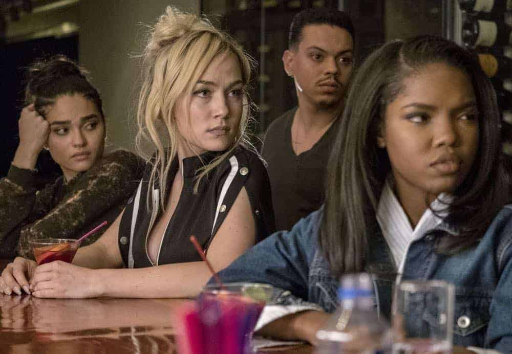 """STAR: L-R: Brittany O'Grady, Jude Demorest, guest star Evan Ross and Ryan Destiny in the """"Let the Good Times Roll"""" episode of STAR airing Wednesday, May 2 (9:00-10:00 PM ET/PT) on FOX. ©2018 Fox Broadcasting Co. CR: Wilford Harewood/FOX"""