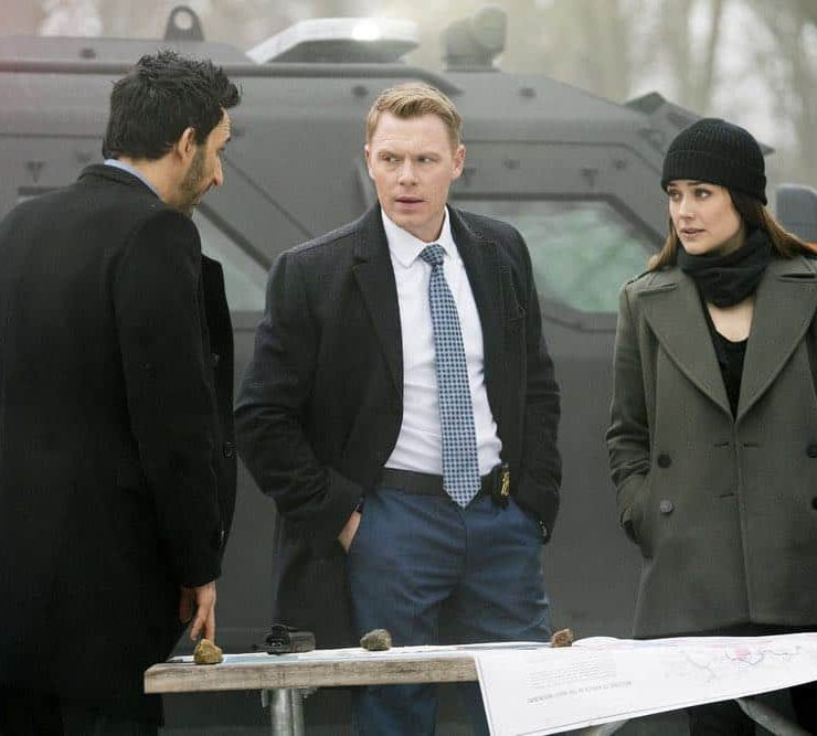 "THE BLACKLIST -- ""Nicholas T. Moore (#110)"" Episode 520 -- Pictured: (l-r) Amir Arison as Aram Mojtabai, Diego Klattenhoff as Donald Ressler, Megan Boone as Elizabeth Keen -- (Photo by: Scott Gries/NBC)"