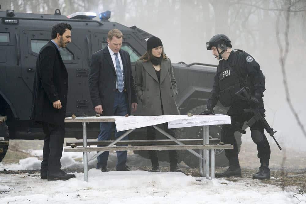 "THE BLACKLIST -- ""Nicholas T. Moore (#110)"" Episode 520 -- Pictured: (l-r) Amir Arison as Aram Mojtabai, Diego Klattenhoff as Donald Ressler, Megan Boone as Elizabeth Keen, Michael R. Pauley as SWAT Commander -- (Photo by: Scott Gries/NBC)"