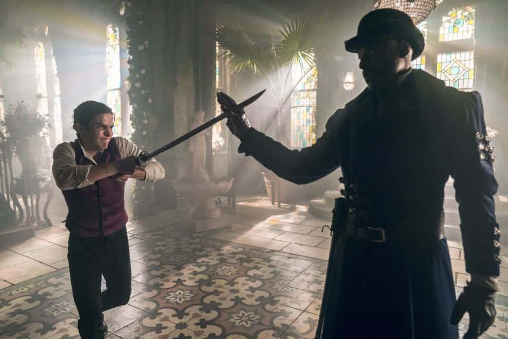 Aramis Knight as M.K., Sherman Augustus as Moon - Into the Badlands _ Season 3, Episode 2 - Photo Credit: Aidan Monaghan/AMC