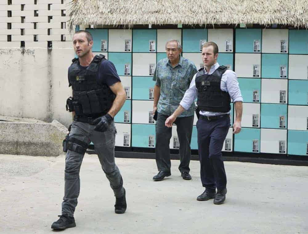 """""""Kōpī wale nō i ka i'a a 'eu nō ka ilo."""" -- Five-0 must help Duke after he is forced to steal crucial evidence from the police locker in exchange for his kidnapped granddaughter. Also, Jerry goes undercover at a mental health facility in order to solve a murder, on HAWAII FIVE-0, Friday, April 27 (9:00-10:00 PM, ET/PT) on the CBS Television Network. Pictured L to R: Alex O'Loughlin as Steve McGarrett, Dennis Chun as Sgt. Duke Lukela and Scott Caan as Danny """"Danno"""" Williams. Photo: Karen Neal/CBS ©2018 CBS Broadcasting, Inc. All Rights Reserved  (""""Kōpī wale nō i ka i'a a 'eu nō ka ilo."""" is Hawaiian for """"Though the Fish is Well Salted, the Maggots Crawl."""")"""