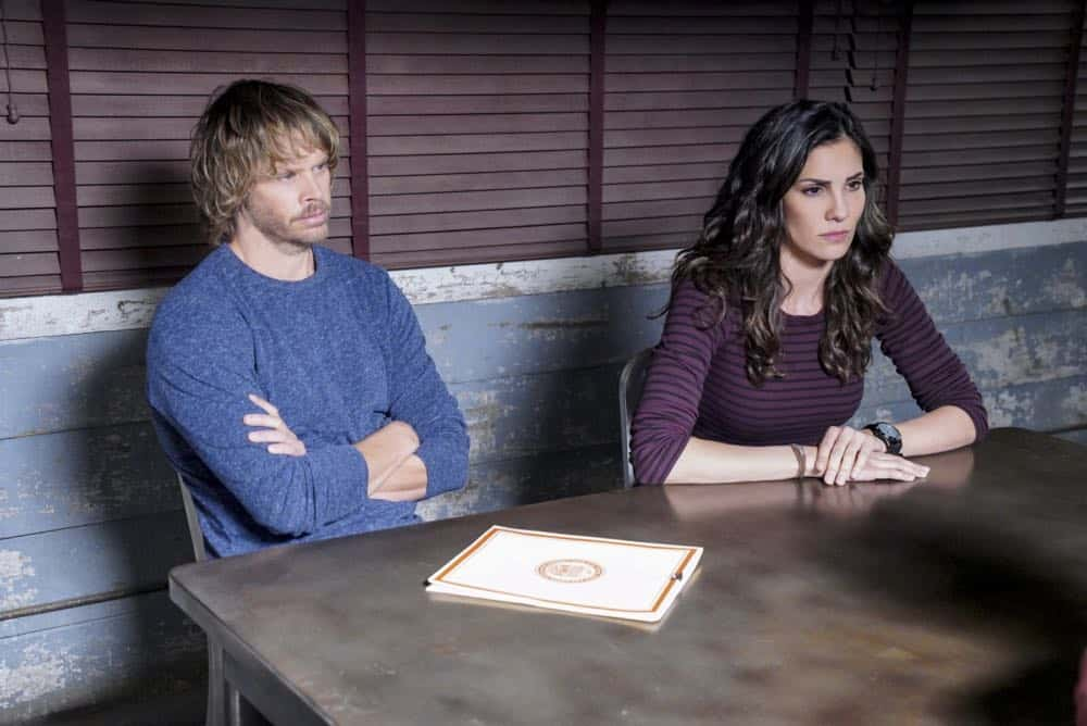 """Reentry"" - Pictured: Eric Christian Olsen (LAPD Liaison Marty Deeks) and Daniela Ruah (Special Agent Kensi Blye). Callen, Sam and Nell travel to the Angeles Forest to search for pieces of a failed rocket launch, including a top-secret government device. Also, Hetty tries to help Keane (Jeff Kober) acclimate to life in the states, on NCIS: LOS ANGELES, Sunday, April 29 (9:00-10:00 PM, ET/PT) on the CBS Television Network. Photo: Bill Inoshita/CBS ©2018 CBS Broadcasting, Inc. All Rights Reserved."
