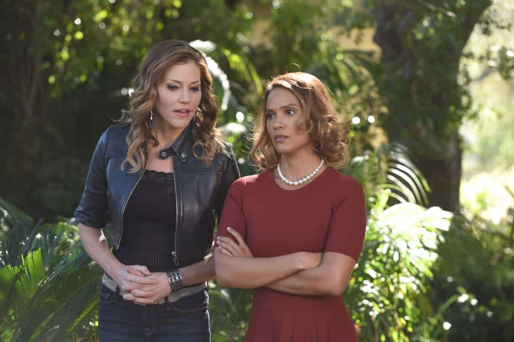 "LUCIFER: L-R: Tricia Helfer and Lesley-Ann Brandt in the ""All Hands on Decker"" episode of LUCIFER airing Monday, April 30 (8:00-9:00 PM ET/PT) on FOX. CR: FOX"