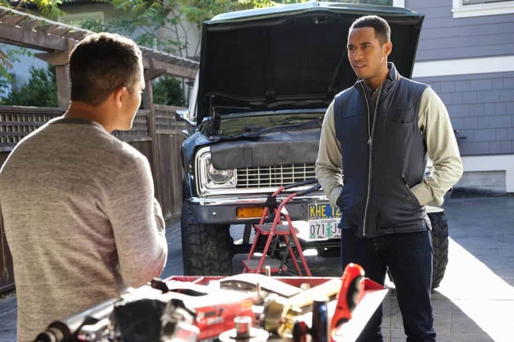 "Life Sentence -- ""Who Framed Stella Abbott"" -- Image Number: LFS106b_0026b.jpg -- Pictured (L-R): Carlos PenaVega as Diego and Elliot Knight as Wes -- Photo: Bettina Strauss/The CW -- © 2018 The CW Network, LLC. All Rights Reserved."