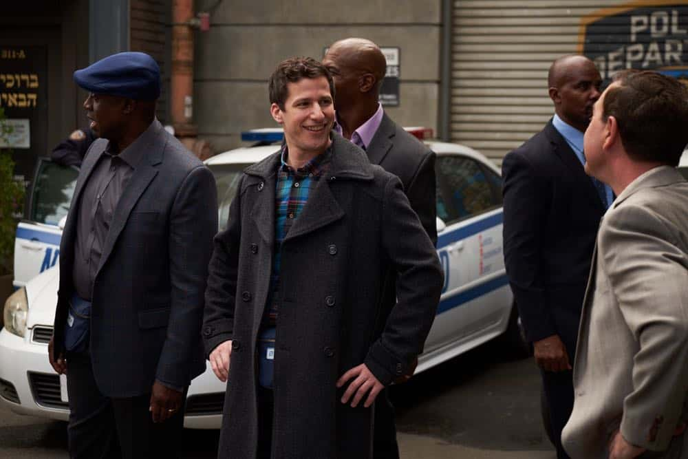 """BROOKLYN NINE-NINE: L-R: Andre Braugher, Andy Samberg and Terry crews in the """"Bachelor/ette Party"""" episode of BROOKLYN NINE-NINE airing Sunday, April 29 (8:30-9:00 PM ET/PT) on FOX.CR: FOX"""