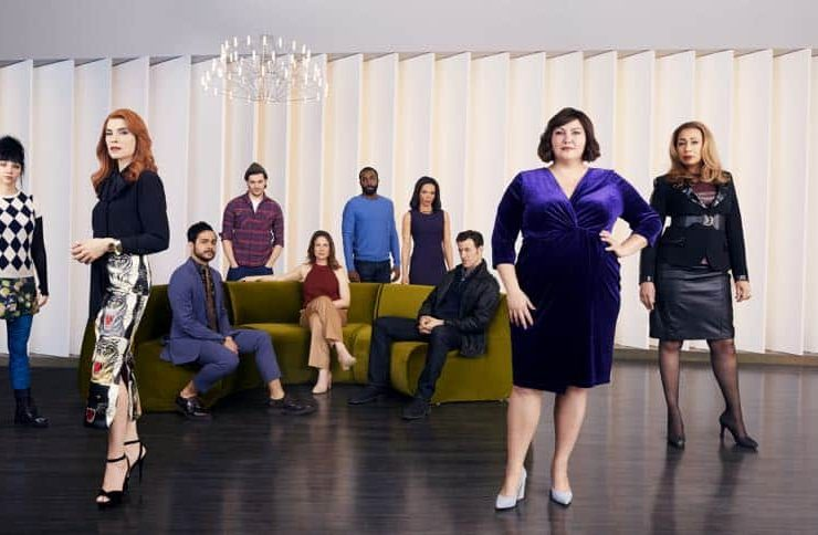 Erin Darke as Leeta, Julianna Margulies as Kitty, Ricardo Davila as Eladio, Will Seefried as Ben, Robin Weigert as Verena, Tramell Tillman as Steven, Rowena King as Cheryl, Adam Rothenberg as Dominic, Joy Nash as Plum Kettle, Tamara Tunie as Julia - Dietland _ Season 1, Gallery - Photo Credit: Erik Madigan Heck/AMC
