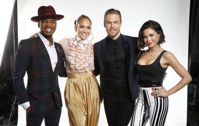 "WORLD OF DANCE -- ""Qualifiers"" -- Pictured: (l-r) Ne-Yo, Jennifer Lopez, Derek Hough, Jenna Dewan -- (Photo by: Trae Patton/NBC)"