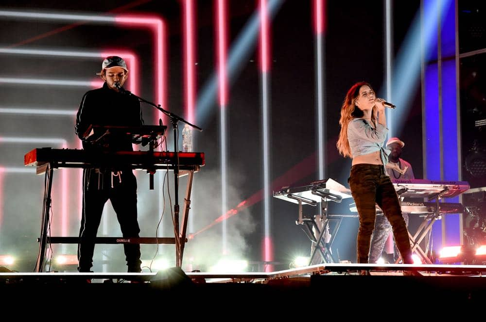LAS VEGAS, NV - MAY 19: Zedd (L) and Maren Morris rehearse onstage for the 2018 Billboard Music Awards at MGM Grand Garden Arena on May 19, 2018 in Las Vegas, Nevada. (Photo by Kevin Winter/Getty Images for dcp) *** Local Caption *** Zedd; Maren Morris