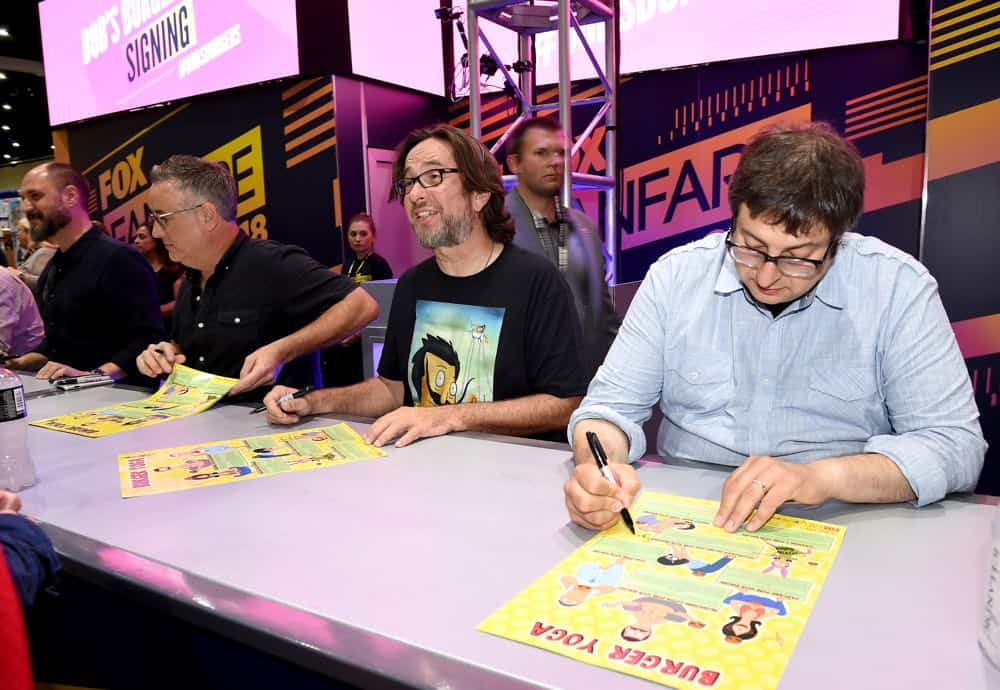 FOX FANFARE AT SAN DIEGO COMIC-CON © 2018: L-R: Cast members Larry Murphy, David Herman and Eugene Mirman during the BOB'S BURGERS booth signing on Friday, July 20 at the FOX FANFARE AT SAN DIEGO COMIC-CON © 2018. CR: Frank Micelotta/FOX © 2018 FOX BROADCASTING