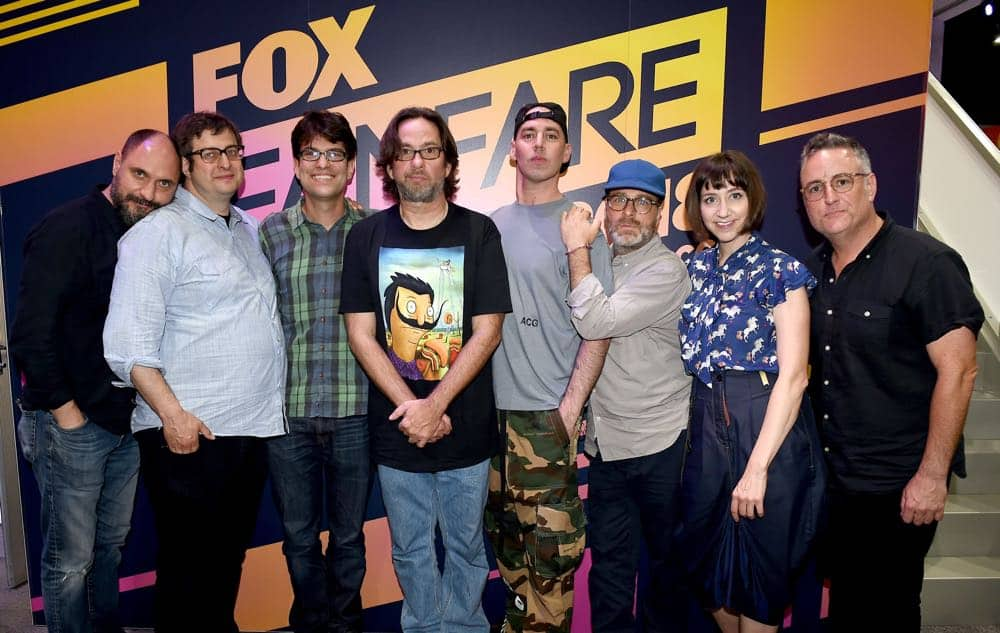 FOX FANFARE AT SAN DIEGO COMIC-CON © 2018: L-R: Creator Loren Bouchard, cast members Eugene Mirman, Dan Mintz, David Herman, John Roberts, H. Jon Benjamin, Kristen Schaal and Larry Murphy during the BOB'S BURGERS booth signing on Friday, July 20 at the FOX FANFARE AT SAN DIEGO COMIC-CON © 2018. CR: Frank Micelotta/FOX © 2018 FOX BROADCASTING