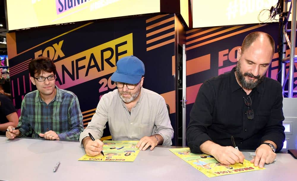 FOX FANFARE AT SAN DIEGO COMIC-CON © 2018: L-R: Cast members Dan Mintz and H. Jon Benjamin and creator Loren Bouchard during the BOB'S BURGERS booth signing on Friday, July 20 at the FOX FANFARE AT SAN DIEGO COMIC-CON © 2018. CR: Frank Micelotta/FOX © 2018 FOX BROADCASTING