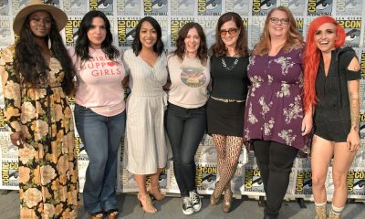 "COMIC-CON INTERNATIONAL: SAN DIEGO -- Yetide Bakadi, Cher Martinetti, Sana Amanat, Rachel Bloom, Amanda Conner, Gail Simone and Lights attend ""SYFY Wire's Fangrrls Panel"" -- Pictured: (l-r) -- (Photo by: Neilson Barnard/SYFY)"