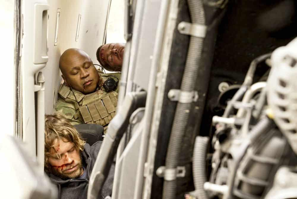 """To Live And Die In Mexico"" -- Pictured: Eric Christian Olsen (LAPD Liaison Marty Deeks), LL COOL J (Special Agent Sam Hanna) and Chris O'Donnell (Special Agent G. Callen). Gravely injured and unable to communicate to the team in Los Angeles, Callen, Sam and Kensi, with an unconscious Deeks in tow, search for help and a way home during their off-the-books mission in Mexico, on the tenth series premiere of NCIS: LOS ANGELES, Sunday, Sept. 30 (9:30-10:30, ET/PT), on the CBS Television Network. Photo: Cliff Lipson/CBS ©2018 CBS Broadcasting, Inc. All Rights Reserved."