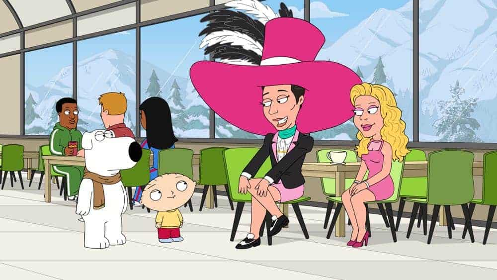 "FAMILY GUY: Johnny Weir and Tara Lipinski guest voice in an all-new ""The Griffin Winter Games"" episode of FAMILY GUY airing Sunday, Nov. 18 (9:00-9:30 PM ET/PT) on FOX. FAMILY GUY ™ and © 2018 TCFFC ALL RIGHTS RESERVED. CR: FOX"