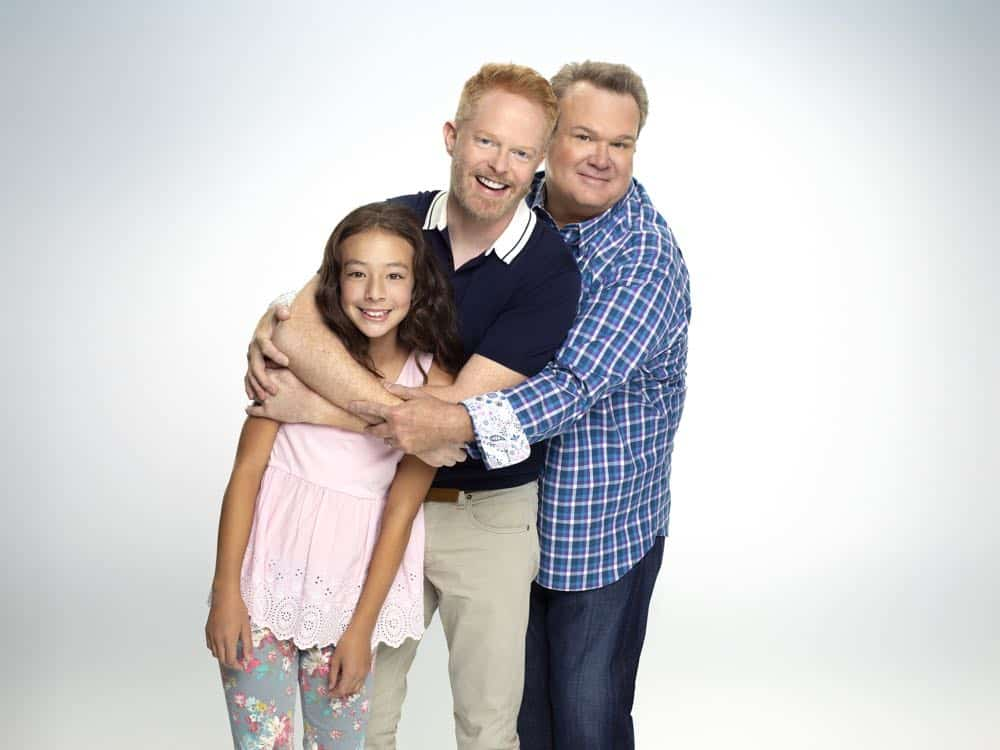 "MODERN FAMILY - ABC's ""Modern Family"" stars Aubrey Anderson-Emmons as Lily Tucker-Pritchett, Jesse Tyler Ferguson as Mitchell Pritchett, and Eric Stonestreet as Cameron Tucker. (ABC/Robert Ashcroft)"