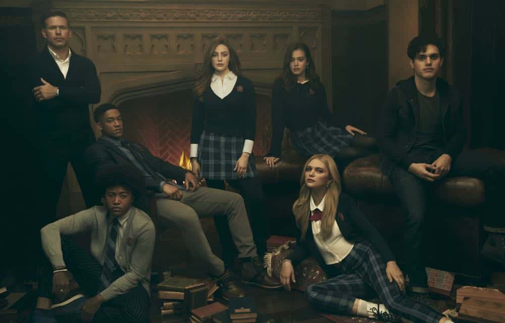 Legacies -- Image Number: LGC1_CAST_0075.jpg -- Pictured (L-R): Matthew Davis as Alaric, Quincy Fouse as MG, Peyton Alex Smith as Rafael, Danielle Rose Russell as Hope, Kaylee Bryant as Josie, Jenny Boyd as Lizzie, and Aria Shahghasemi as Landon -- Photo: Miller Mobley/The CW -- © 2018 The CW Network, LLC. All Rights Reserved.