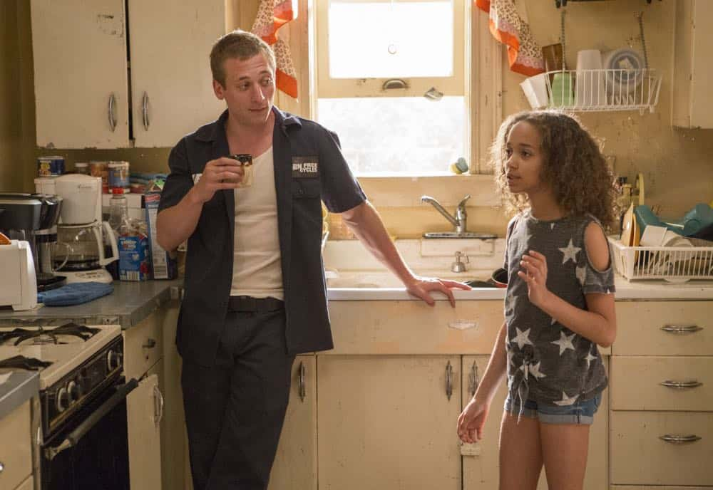 "Jeremy Allen White as Lip Gallagher and Amirah Johnson as Xan in SHAMELESS (Season 9, Episode 02, ""Mo White for President""). - Photo: Paul Sarkis/SHOWTIME - Photo ID: SHAMELESS_902_898"