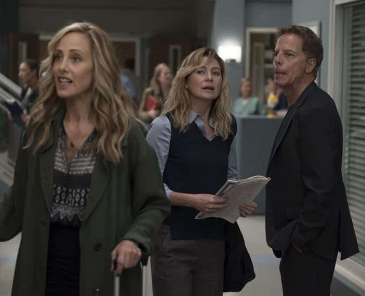 "GREY'S ANATOMY - ""With a Wonder and a Wild Desire""/""Broken Together"" - During the first hour of the two-hour season premiere, the doctors at Grey Sloan Memorial vie for a new position. Meredith is seemingly distracted and struggles to stay focused, and Maggie finds herself the keeper of a big secret while Amelia and Owen try to figure out their relationship. Meanwhile, Jo and Alex's honeymoon doesn't go exactly as planned. In the second hour, new doctors continue to shake up the hospital in typical Grey Sloan manner. Meredith bonds with a patient while Jackson struggles with the meaning behind recent experiences; and after making a life-changing decision, Jo forms an unexpected alliance. The two-hour season premiere of ""Grey's Anatomy"" airs THURSDAY, SEPT. 27 (8:00-10:00 p.m. EDT), on The ABC Television Network. (ABC/Eric McCandless) KIM RAVER, ELLEN POMPEO, GREG GERMANN"