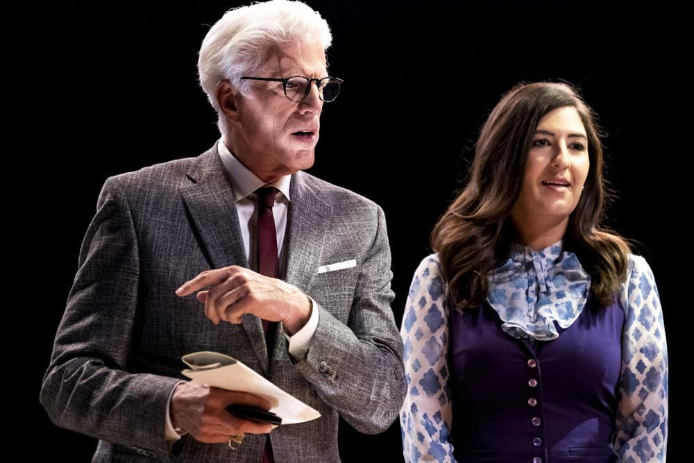 "THE GOOD PLACE -- ""Everything is Bronzer! Pt. 2"" Episode 302 -- Pictured: (l-r) Ted Danson as Michael, D'Arcy Carden as Janet -- (Photo by: Justin Lubin/NBC)"