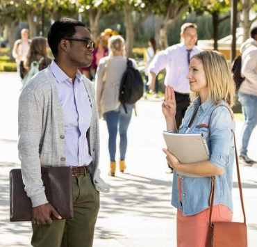 """THE GOOD PLACE -- """"Everything is Bronzer! Pt. 1"""" Episode 301 -- Pictured: (l-r) William Jackson Harper as Chidi, Kristen Bell as Eleanor -- (Photo by: Justin Lubin/NBC)"""