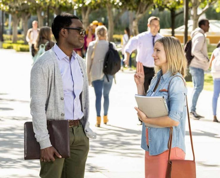"THE GOOD PLACE -- ""Everything is Bronzer! Pt. 1"" Episode 301 -- Pictured: (l-r) William Jackson Harper as Chidi, Kristen Bell as Eleanor -- (Photo by: Justin Lubin/NBC)"