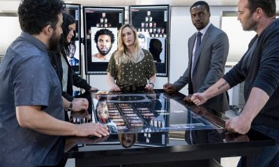 "BLINDSPOT -- ""Hella Duplicitous"" Episode 401 -- Pictured: (l-r) Ennis Esmer as Rich Dotcom, Jaimie Alexander as Jane Doe, Ashley Johnson as Patterson, Rob Brown as Edgar Reade, Sullivan Stapleton as Kurt Weller -- (Photo by: Virginia Sherwood/NBC/Warner Bros.)"