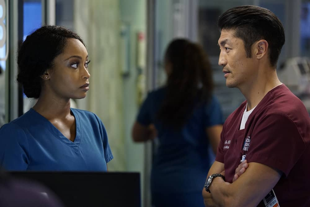 "CHICAGO MED -- ""Be My Better Half"" Episode 401 -- Pictured: (l-r) Yaya DaCosta as April Sexton, Brian Tee as Ethan Choi -- (Photo by: Elizabeth Sisson/NBC)"
